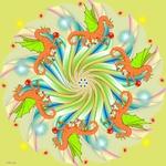 Mandala with Dragons
