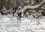 Немецкие солдаты выходят из леса