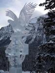 Ice sculpture between mountains.